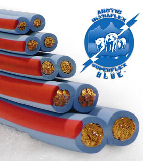 Polar Wire's Arctic Superflex Blue dual conductor cable is available in gauges from 8 to 1/0 AWG